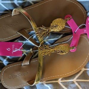 Lilly Pulitzer gold pineapple flip flops